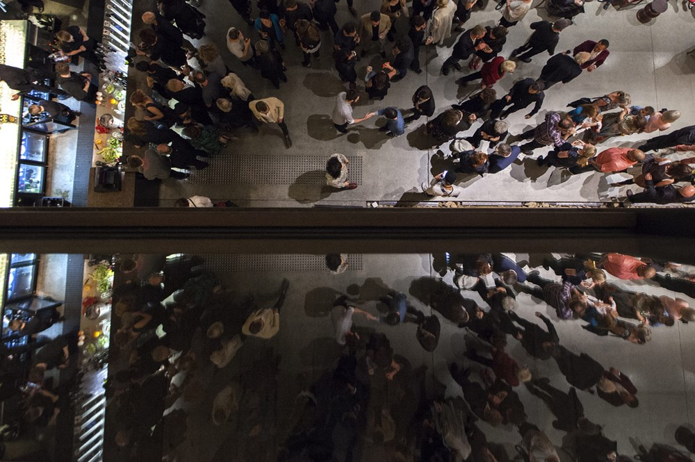 Overhead of crowd near the Void inside the museum