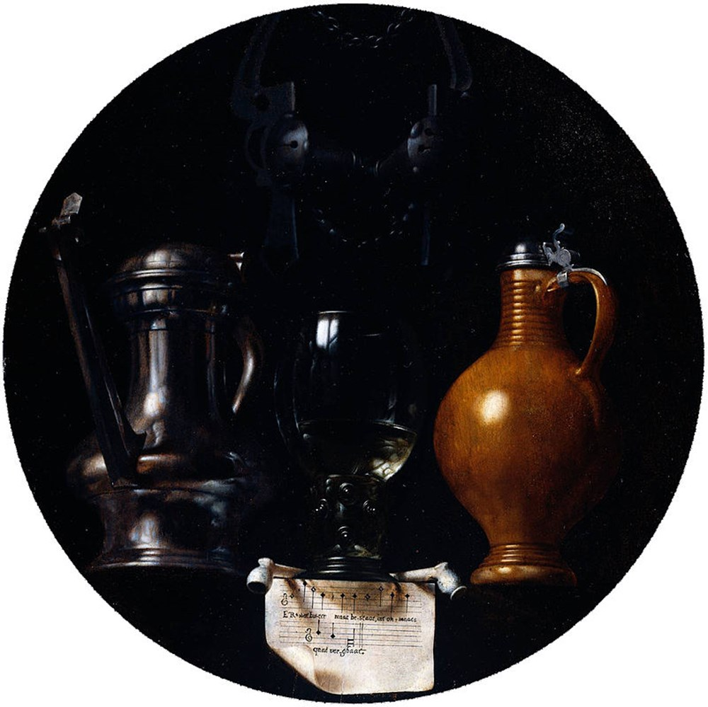 Emblematic still life with flagon, glass, jug and bridle, Johannes van der Beeck (alias Johannes Torrentius), 1614